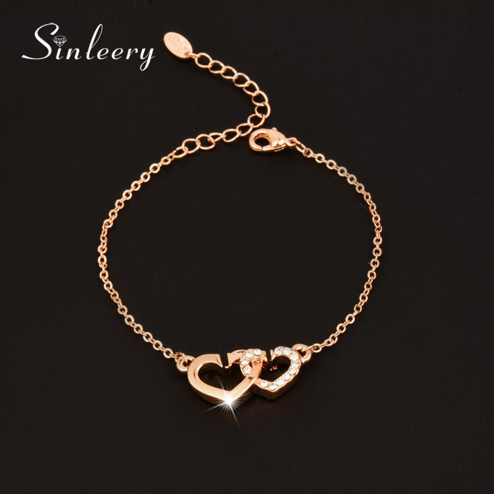 SINLEERY Charm Cubic Zirconia Hollow Heart To Heart Bracelets Bangle For Women Rose/white Gold Color High Quality Sl298