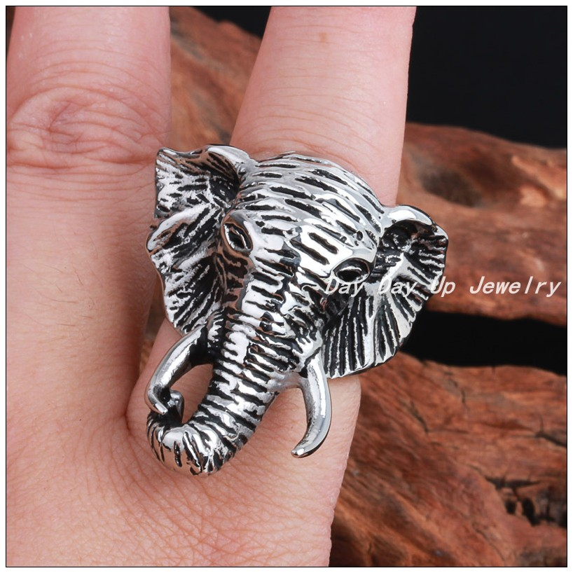 New Design Elephants Head Ring 316L Stainless Steel Silver Men&39;s Boy&39;s Punk Biker Jewelry Ring Size 8-12,Wholesale Or Retail!