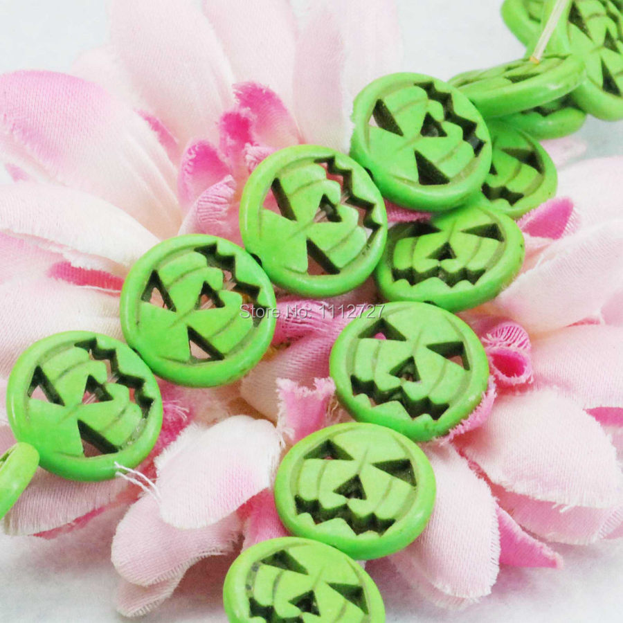 Ornament Green Turkey Howlite Chalcedony Loose Round Beads DIY 15inch Halloween Gifts Prayer Semi Finished Stones 15mm Jewelry