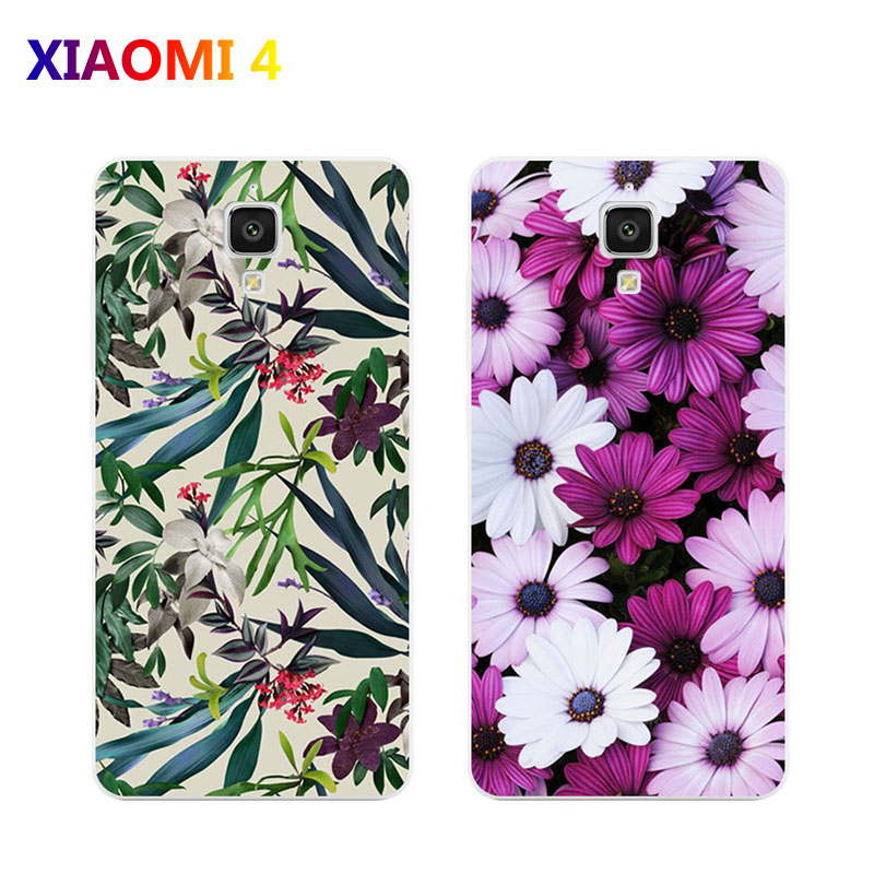 xiaomi mi4i mi4c Case,Silicon Flowers plant Painting Soft TPU Back Cover for xiaomi mi 4i mi 4c Phone protect case shell